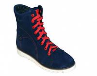 Женские зимние ботинки на шнуровке, синий замш, фото 1