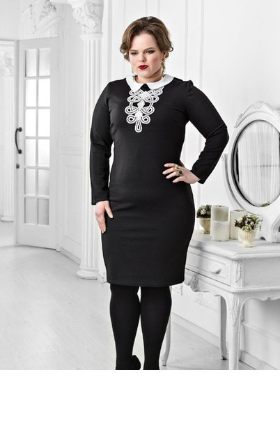 d3ff56c3bb8 Строгое черное платье с белым воротником и белого кружева на груди  Размеры 42-44