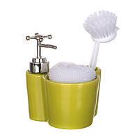 Дозатор  для моющего средства керамический с подставкой под губку и щетку Оливковый 755-123