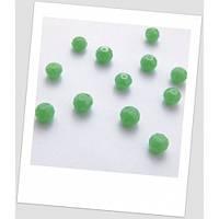 Бусина граненая хрустальная непрозрачная, зеленый (нефрит), 8 мм х 6,3 мм