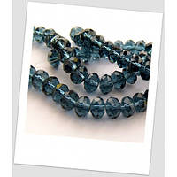 Бусина дымчато-синяя хрустальная граненная приплюснутая 8 мм х 5 мм
