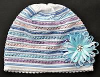 Ажурная шапочка для девочки из хлопка, весна/лето, 2-7 лет ( р.48-54)