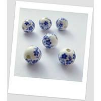 Бусина керамическая белая с синим узором 12мм