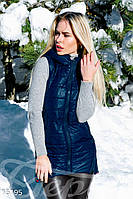 Модная женская жилетка плащевка утеплитель синтепон удлиненная с молниями по бокам с капюшоном