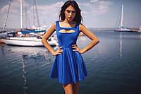 Синее летнее платье с необычным вырезом