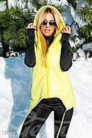 Асимметричная стеганная женская жилетка плащевка утеплитель синтепон с капюшоном