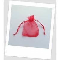 Мешочек из органзы ювелирный 9 см х 7 см красный