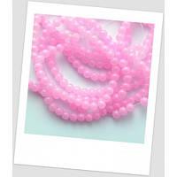 Бусина стеклянная круглая ярко-розовая, 6 мм.