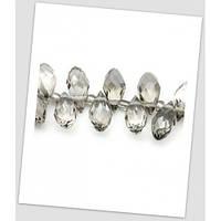 "Бусина граненая стеклянная, форма ""капля"", 12 x 6 мм, Цвет: прозрачный серый"