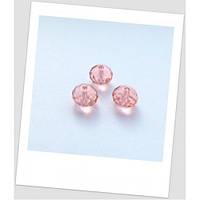 Бусина хрустальная граненая, форма рондель, цвет розовый, 8 х 6 мм
