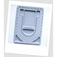 Органайзер (доска) для сборки бус трёхрядный светло-серый. 330 х 240 мм