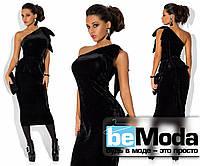 Шикарное женское платье на одно плечо со съемной баской в комплекте черное