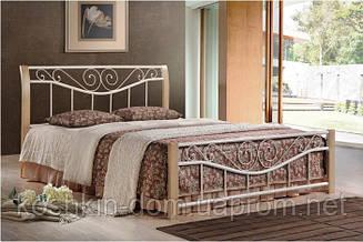 """Кровать """"Ленора крем"""" двухспальная из натурального дерева и металла"""