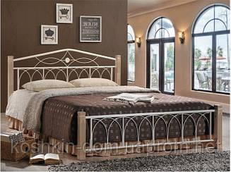 """Кровать двуспальная """"Миранда крем"""" из натурального дерева и металла"""