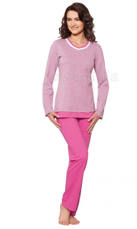 Жіноча піжама на довгий рукав із рожевими штанами Wadima 104319