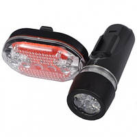 Велофара + задний фонарь для велосипеда (LED, 10 режимов, 3xAAA/2xAAA)