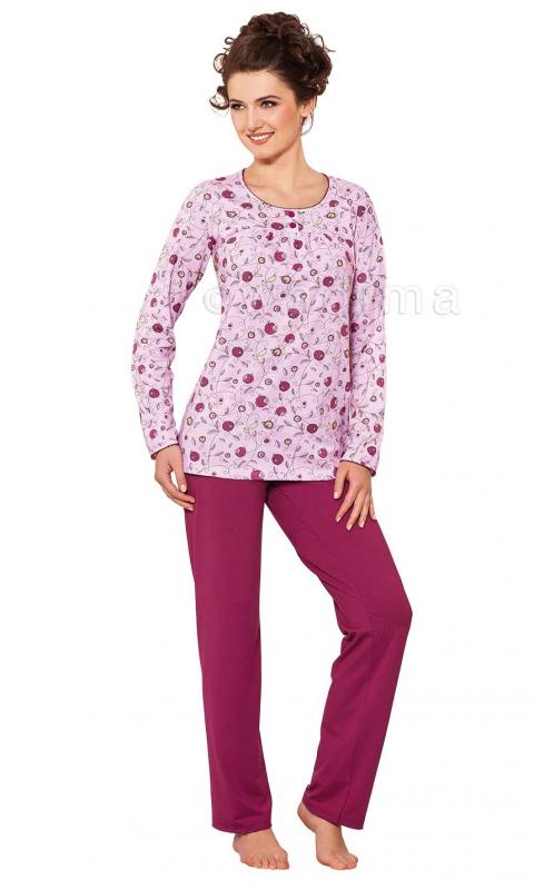 Жіноча бавовняна піжама із бордовими штанами Wadima 104321