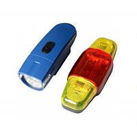 Велофара + задний фонарь для велосипеда KK890 ( 8LED/5LED, 2хAA), синий