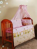 """Бампер в кроватку детскую- """"Розовые пчелы"""""""