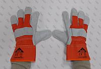 Перчатки рабочие комбинированные спилком и кожей, пятипалые EC 008