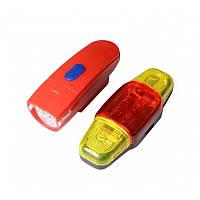 Велофара + задний фонарь для велосипеда KK890 ( 8LED/5LED, 3хAAA), красный