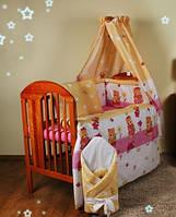 """защита на кровать для кроватки детской защитное ограждение бортики бампер- """"Мишки с лейками розовые"""""""