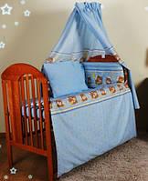 """Бортики для кроватки малыша -""""Голубые мишки в кружочек"""""""