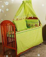 """Бампер, защита, бортики, охранка в детскую кроватку-""""Зеленые мишки в кружочек"""""""
