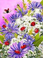 Картина для рисования камнями стразами Diamond painting Алмазная вышивка алмазами цветы с божьими коровками
