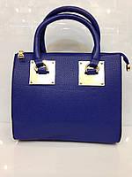 Женская сумка саквояж Sofia 418 экокожа синего цвета
