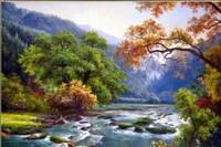 Картина для рисования камнями стразами Diamond painting Алмазная вышивка алмазами мозаика пейзаж река