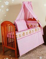 """Бампер бортик бортики защита для детской кроватки защитное ограждение бязь-""""Розовые мишки в кружочек"""""""