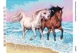 """Схема для частинойзашивки бисером """"Лошади"""""""