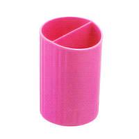 3000-10 Zibi Стакан для ручек кругл. на 2отд.,розовый