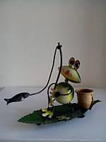 Статуэтка Лягушка на листе металл