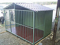 Модульный вольер для собаки с двухскатной крышей
