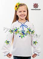 """Вышиванка детская белая на девочку, арт. 0195 """"Фиалки"""""""