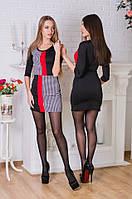 Стильное женское платье короткое с воротничком комбинация цветов
