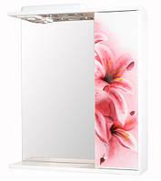 Зеркало для ванной 60-01 правое Розовая лилия
