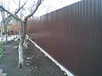 Забор из профнастила с бордюром