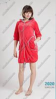 Женский велюровый халат с капюшоном , фото 1