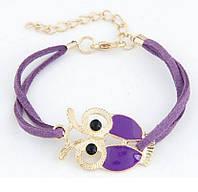 Браслет на шкіряному шнурку з фігуркою Сови фіолетового кольору, застібка/ланцюжок золотистого кольору