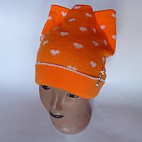Детская вязаная шапка для девочки с подворотом 4-7 лет оптом
