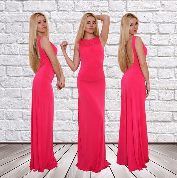 """Длинное облегающее платье масло """"Amelia"""" с открытой спиной (3 цвета)"""