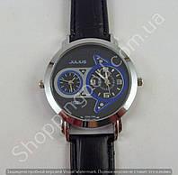 Часы Julius Dual Time (Local Time) 013741 мужские серебристые с черным циферблатом на черном ремешке