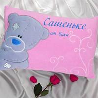 Подушка розовая с мишкой и Вашей надписью