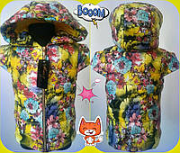 Жилетка детская с капюшоном, утеплитель синтепон 200 много расцветок!!! ММ №581-1