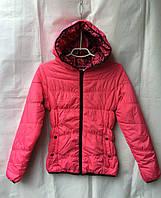 Куртка ветровка подростковая для девочки 6-10 лет,малиновая