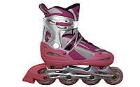 Роликовые коньки раздвижные KEPAI (р-р S-30-33, L-38-41, PL, PVC, колесо PU, алюм. рама, розовый)