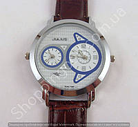 Часы Julius Dual Time (Local Time) 013742 мужские серебристые с белым циферблатом на коричневом ремешке